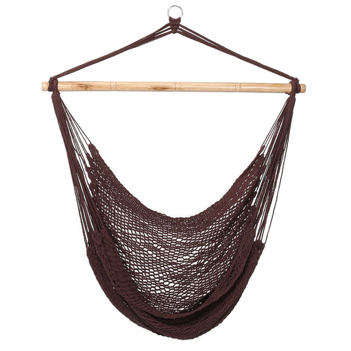 Finether Mesh Hammock Chair Swing, Netted Swing Chair Swing Seat Rope Hanging Chair for Any Indoor or Outdoor Spaces, 300 lbs Weight Capacity, Dark Brown-Finether