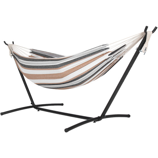 Finether Double Hammock|Two Person Hammock Chair with Steel Stand and Bag for Free,Space Saving,Portable,331 lbs/150 kg Capacity,Desert Stripe-Finether