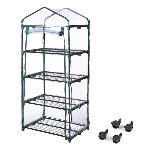 Finether 4-Tier Mini Greenhouse with Transparent Cover and Clear Coverfor Indoor Outdoor Herb Flower Garden Balcony, Portable, 27.2''W x 19.3''D x 62.2''H-Finether
