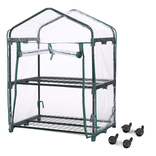 Finether 2-Tier Mini Greenhouse with Transparent Cover and Clear Cover for Indoor Outdoor Herb Flower Garden Balcony, Portable, 27.2''W x 19.3''D x 37.4''H-Finether