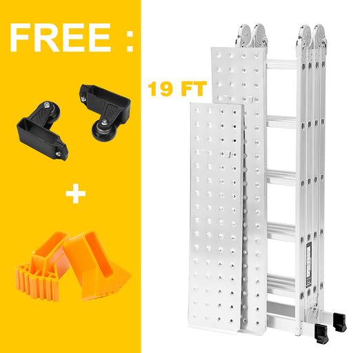 Finether 19ft Heavy Duty Multi Purpose Aluminum Folding Extension Ladder with Safety Locking Hinges and 2 Panels 330lb Capacity (New Non-Slip Mat and Wheels for Free)-Finether