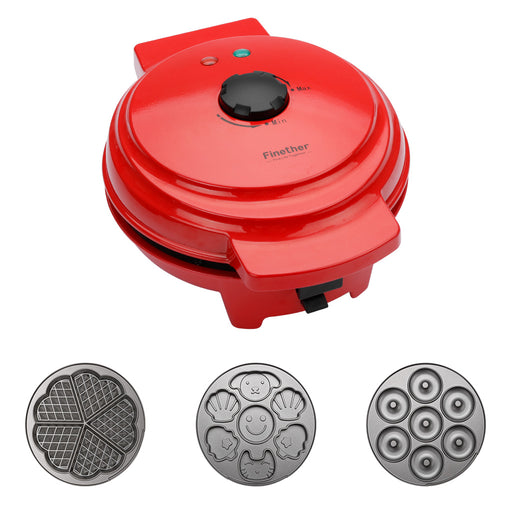Finether Waffle Maker Machine, Multi-Plate Waffle Iron, Mini 3-in-1 Non-Stick Snack Maker Adjustable Temperature, Easy to Clean, Cord Wrap & Cool Touch Handle, Red-Finether