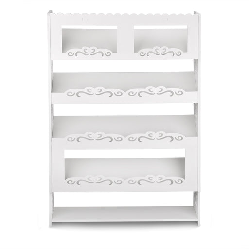 Finether 5-Tier Modular Cut-Out Wood Plastic Composite Shoe Book Magazine Storage Display Rack Organizer Shelf Unit with 4 Slanted Shelves, SGS Certified, White-Finether