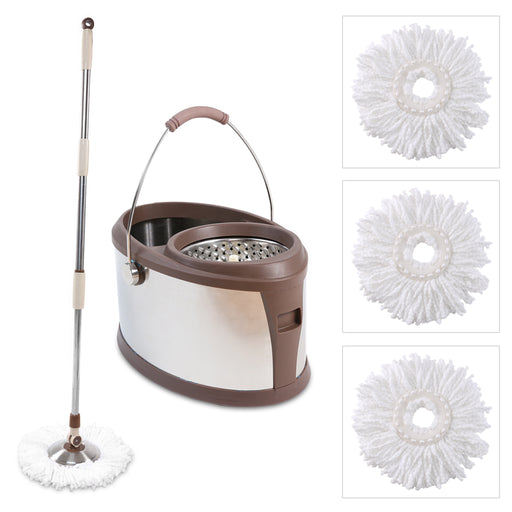 Finether Microfiber Spin Mop, Stainless-Steel Bucket and Wringer Set with 360 Degree Swivel Mop Head and 3 Mop Head Replacements for Home and Commercial Use-Finether