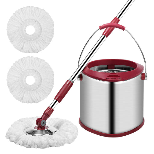 Finether Single Bucket Spin Mop Cleaning System, Space Saving Stainless Steel Easy Wringing Wet Dry Mop Set for Hardwood Tile Floor (1 Telescoping Handle + 1 Single Bucket + 3 Microfiber Mop Heads)-Finether