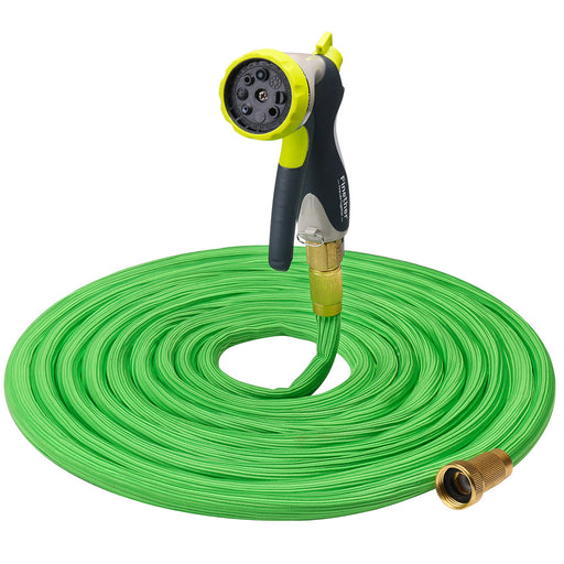 "Finether 50ft Garden Hose Expandable with Double Latex Core, 3/4"" Brass Fittings, High Density Woven,Black (Extra 8 Function Spray Nozzle for Free, Hanger, Storage Bag for Free)-Finether"