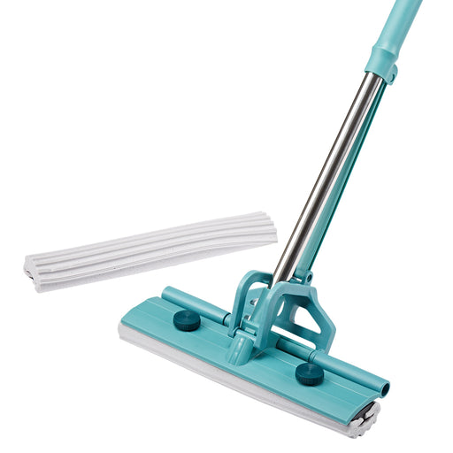 Finether Single-Roller PVA Sponge Mop Stainless Steel Absorbent Floor Mop Wet Mop with Easy Wringing Action for Home Hard Floor Wood Laminate Tile Window (1 Telescoping Handle + 2 Sponge Mop Heads)-Finether