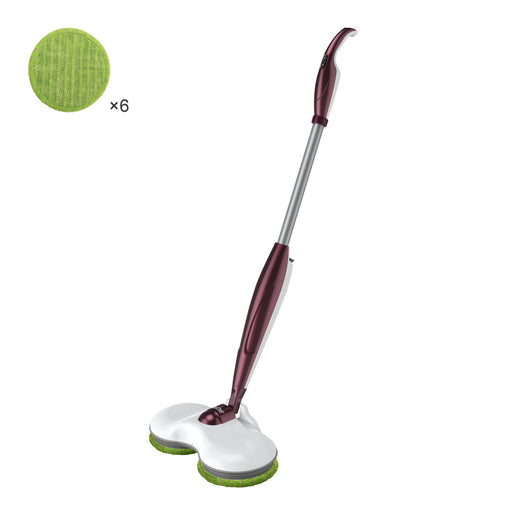 Finether Cordless Electric Mop Cleaner Sweeper with Dual Spin Mop Heads See-Through Water Tank 180° Swivel Ergonomic Handle, Rechargeable Scrubber Polisher for Home Hard Floor Wood Laminate Tile, Red-Finether