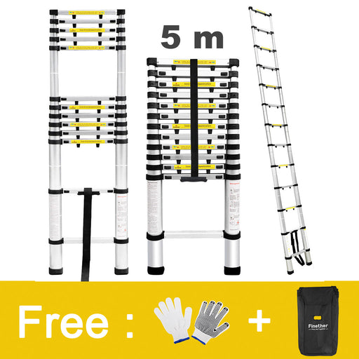 Finether 16.4 ft Aluminum Telescopic/Telescoping Loft Extension Multi-Purpose Ladder, EN 131 Certified with Work Gloves, Ladder Carrying Bag and Finger Protection Spacers, 331 lbs Capacity-Finether