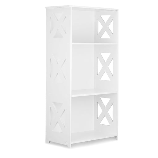 Finether 3-Tier Modular Side Cross Cut-Out Wood Plastic Composite Shelf Unit Bookcase Storage Organizer Display, SGS Certified, White-Finether