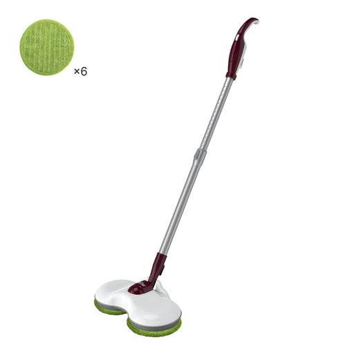 Finether Plug-In Electric Mop Cleaner Sweeper with Dual Spin Mop Heads, 180° Swivel Extendable Handle, Energy-Saving Scrubber Polisher for Home Hard Floor Wood Laminate Tile, White-Finether