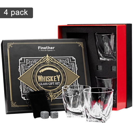 Finether 9-Piece Whisky Gift Set - 4 Whisky Glasses 4 Reusable Whisky Ice Cubes 1 Velvet Pouch, Lead-Free Clear Glasses Non-Diluting Granite Chilling Rocks for Bourbon Scotch Vodka Liquor-Finether
