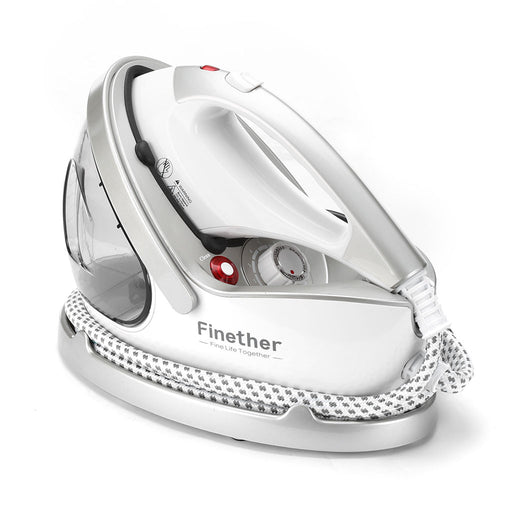 Finether 2 in 1 Garment Steamer Iron, Clothes Fabric Steamer with Extra-Fine Steam Nanoceramics Iron Panel 15 Sec Heat-up 9 Steam Levels Anti-Scald Gloves and Fabric Brush For Home and Commercial Use-Finether