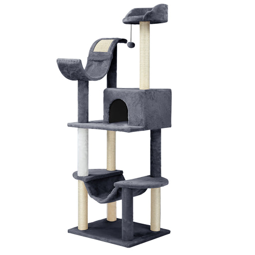 "Finether 60.5"" High 5-Tier Cat Tree Tower Furniture Kitten Playhouse with Sisal Covered Scratching Posts, Hammock, Perches, Platform and Dangling Ball, Grey/White-Finether"