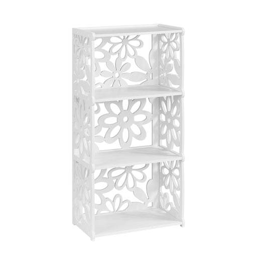 Finether 3-Tier Modular Flower Cut-Out Wood Plastic Composite Shelf Unit Storage Organizer Shelf Bookcase Display Rack, SGS Certified, White-Finether