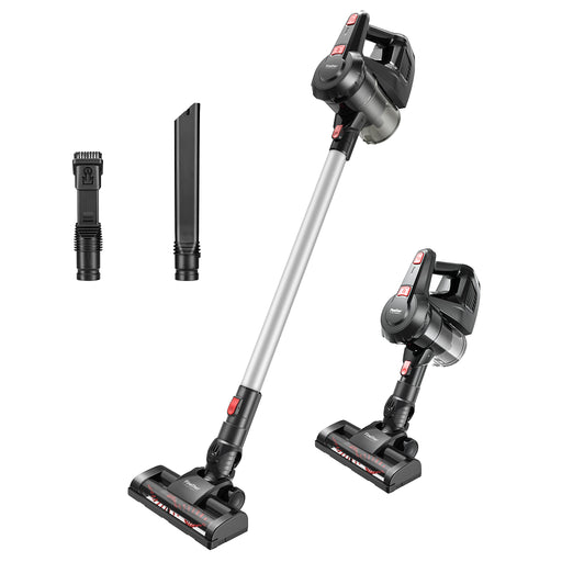 Finether Cordless Stick Vacuum Cleaner with 5 Attachments Wall-Mount for Multiple Surfaces, Lightweight & Corded, Gray-Finether