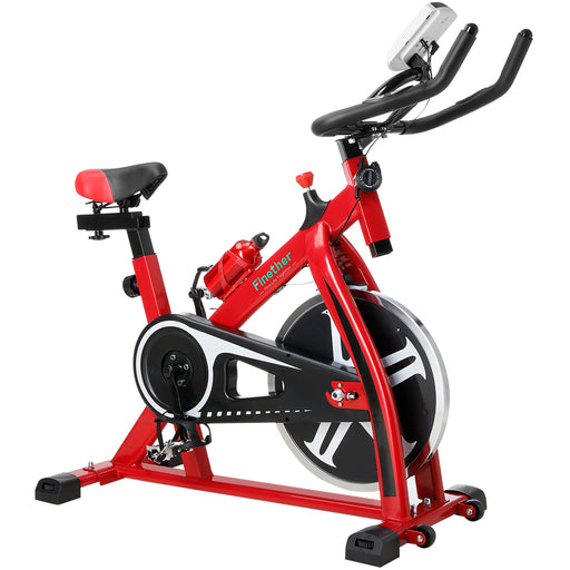 Finether Exercise Bike, Indoor Chain Driven Cycling Bike Stationary Bicycle with 17.6 lb/8 kg Flywheel, Pulse, Water Bottle and Transport Wheels, 265 lbs Weight Capacity, Red-Finether