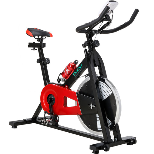 Finether Exercise Bike, Indoor Chain Driven Cycling Bike Stationary Bicycle with 29 lb/13 kg Flywheel, Pulse, Water Bottle and Transport Wheels, 265 lbs Weight Capacity, Black-Finether