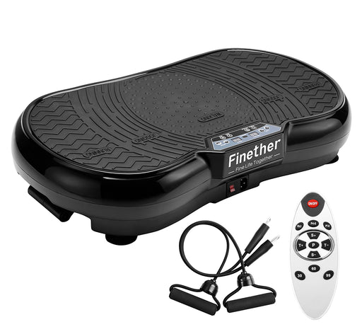 Finether Vibration Plate Vibration Platform, Whole Full Body Shape Exercise Machine with 99 Speed Levels Remote Control 3 Vibration Areas 2 Resistance Bands for Fitness Massage, 331 lbs Load Capacity-Finether