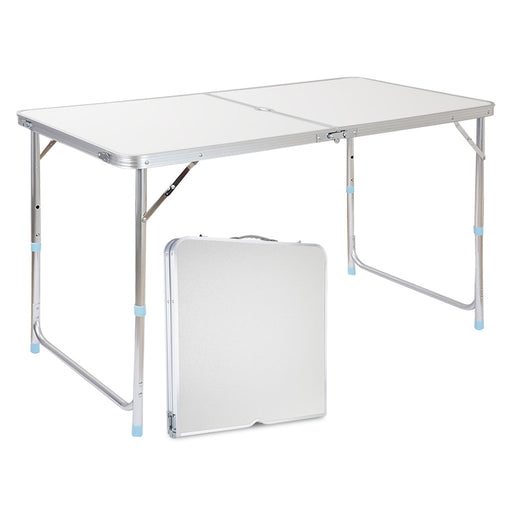 Finether Height-Adjustable Aluminum Folding Table with Parasol Hole, Portable Multi-Purpose Indoor Outdoor Activity Recreation Dining Picnic Party Camping Table, 55 Lb Capacity, 47.2 by 2-Finether