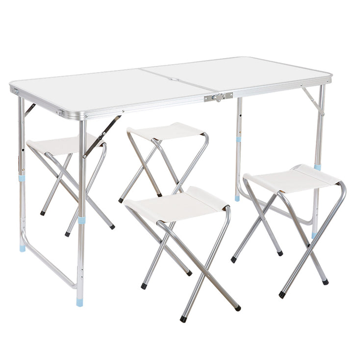 Sensational Fold Tablestool Finether Height Adjustable Aluminum Folding Table And Stool Set 1 Table And 4 Stools With Parasol Hole Portable Multi Purpose Pdpeps Interior Chair Design Pdpepsorg