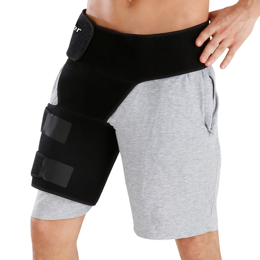 Finether Adjustable Groin Support Wrap, Groin and Hip Stabilizer, Compression Recovery Brace Thigh Strap Sleeve for Hip Injury Sciatic Nerve Pain, Hernia, Pulled Groin, Quad Hamstring for Men & Women-Finether