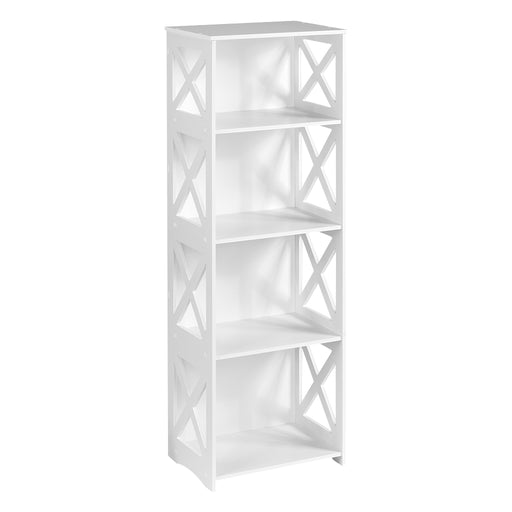 Finether 4-Tier Modular Cross Cut-Out Wood Plastic Composite Shelf Unit Storage Organizer Shelf Bookcase Display Rack, SGS Certified, White-Finether