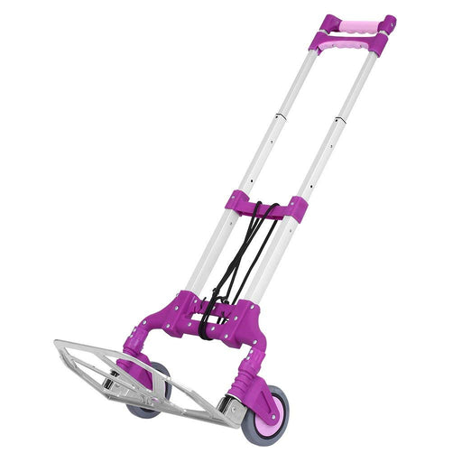 Finether Cart Aluminum Folding 2-wheel Hand Truck|Lightweight Portable Trolley dolly for Indoor Outdoor Travel Shopping Office, Purple-Finether