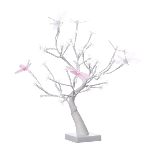 Finether Table Lamp Adjustable Dragonfly and Cherry Flower Desk Lamp |1.47 ft Tree Light for Wedding Living Room Bedroom Party Home Decor with 36 Warm White LED Lights|Two Mode: USB/Battery Powered-Finether