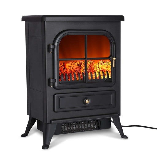 Finether Portable Electric Fireplace Stove Heater 1500W Freestanding Electric Vintage Fireplace with Openable Door Realistic Flame and Logs-Finether