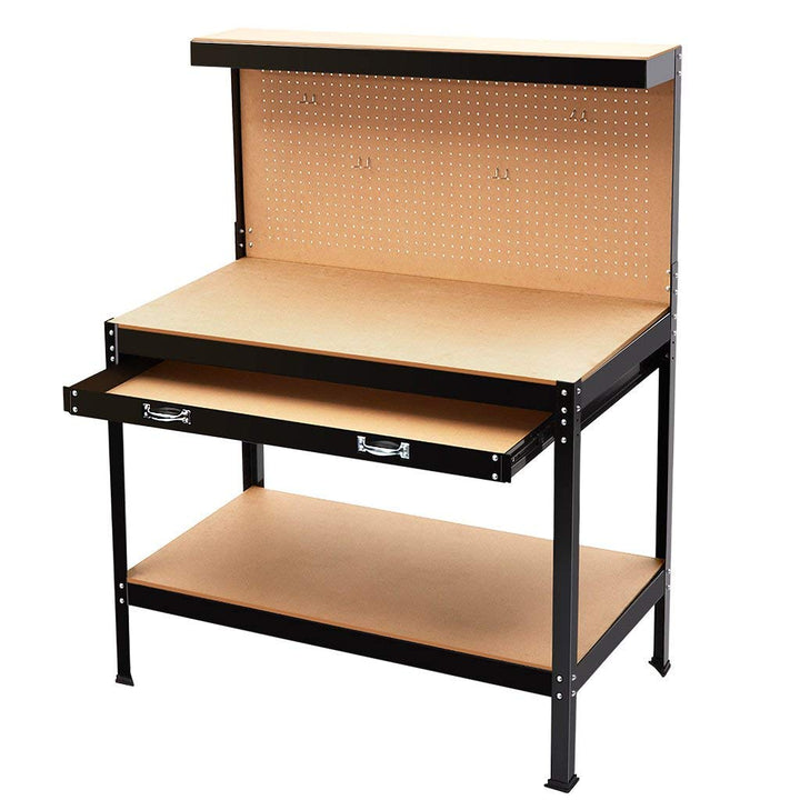 Terrific Finether Heavy Duty Steel Workbench Tool Table Multi Purpose Work Table With 3 Shelves Pegboard 10 Pegs And Large Drawer For Home Workshop Garage Caraccident5 Cool Chair Designs And Ideas Caraccident5Info