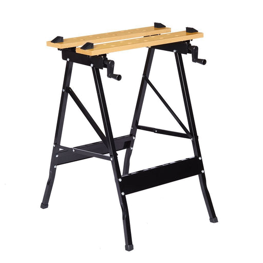 Finether Folding Work Bench with Vice Multipurpose Sawhorse Heavy Duty legs Portable Work Table with Clamp,Pegs and Tool Holders 330lbs/150kg Capacity-Finether