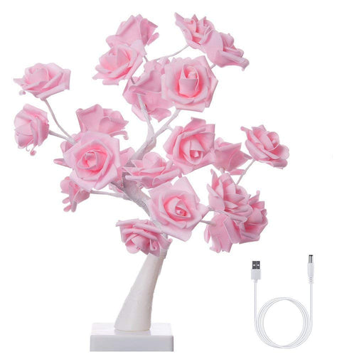 Finether Table Lamp Adjustable Rose Flower Desk Lamp|1.64ft Pink Tree Light for Wedding Living Room Bedroom Party Home Decor with 24 Warm White LED Lights|Two Mode: USB/Battery Powered-Finether