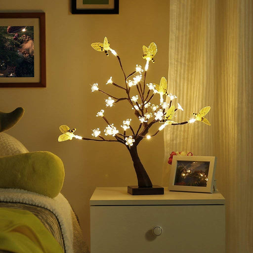 Finether Table Lamp Adjustable Bee and Flower Desk Lamp |1.47 ft Tree Light for Wedding Living Room Bedroom Party Home Decor with 36 Warm White LED Lights |Two Mode: USB/Battery Powered-Finether