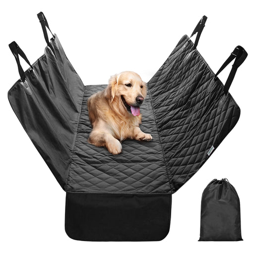 Finether Car Set Cover for Dogs Rear Seat, Quilted Hammock Rear Bench Cover Cargo Liner with Side Flaps and Seat Belt Openings - Waterproof, Non-Slip, Easy to Clean - Perfect for Cars anD SUVs, Black-Finether