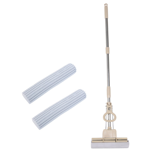 "Finether PVA Sponge Mop Scrub Roller with Telescoping Stainless Steel Handle, 1 Replacement Head and Double Rollers for Wood Floor Ceramic-Tile Floor Marble Floor Glass Surface, 37.8""-49.6""-Finether"