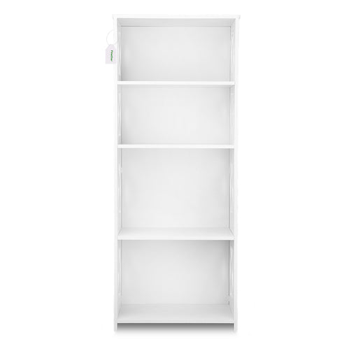 Finether 4-Tier Modular Side Cross Cut-Out Wood Plastic Composite Shelf Unit Bookcase Storage Organizer Display, SGS Certified, White-Finether