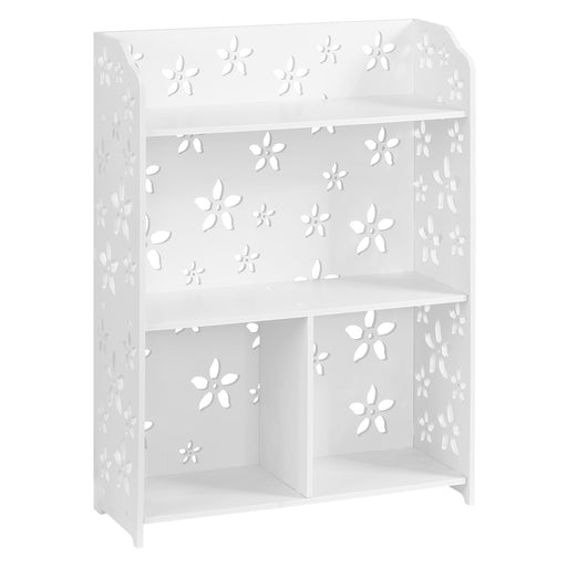 Finether 3-Tier Modular Sakura Cut-Out Wood Plastic Composite Shelf Unit Storage Organizer Shelf Bookcase Display Rack with 4 Compartments, SGS Certified, White-Finether