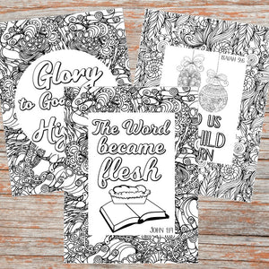 Christmas Scripture Coloring Pages (Set of 5)