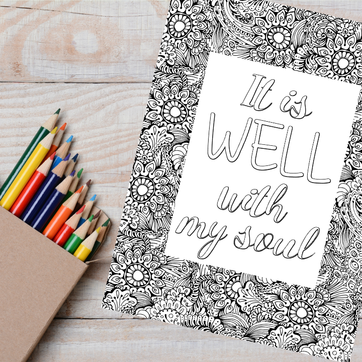 It is Well Christian Hymn Coloring Page