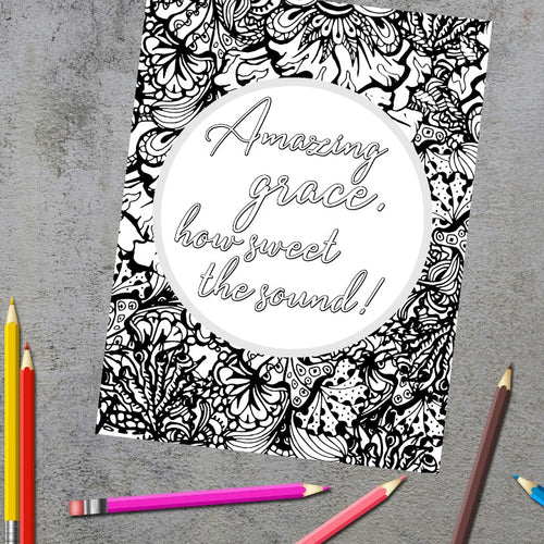 Amazing Grace Christian Hymn Coloring Page