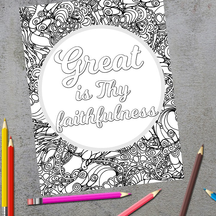 Great is Thy Faithfulness Christian Hymn Coloring Page