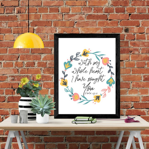 With My Whole Heart Scripture Wall Art