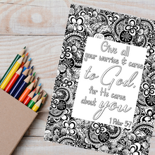 Load image into Gallery viewer, He Cares Scripture Coloring Page