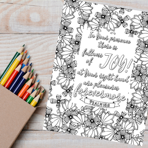 Fullness of Joy Scripture Coloring Page