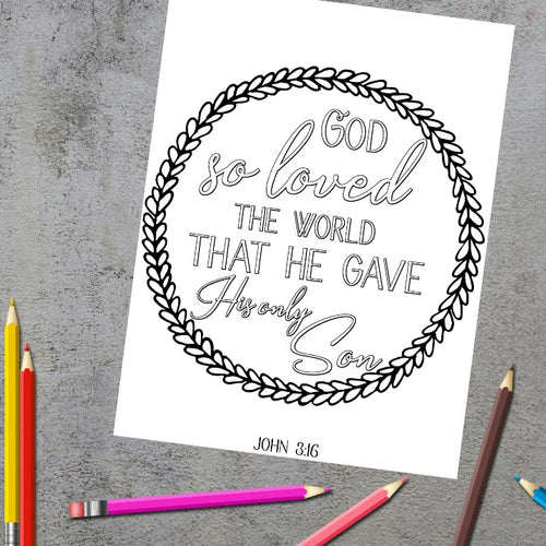 God So Loved the World Scripture Coloring Page