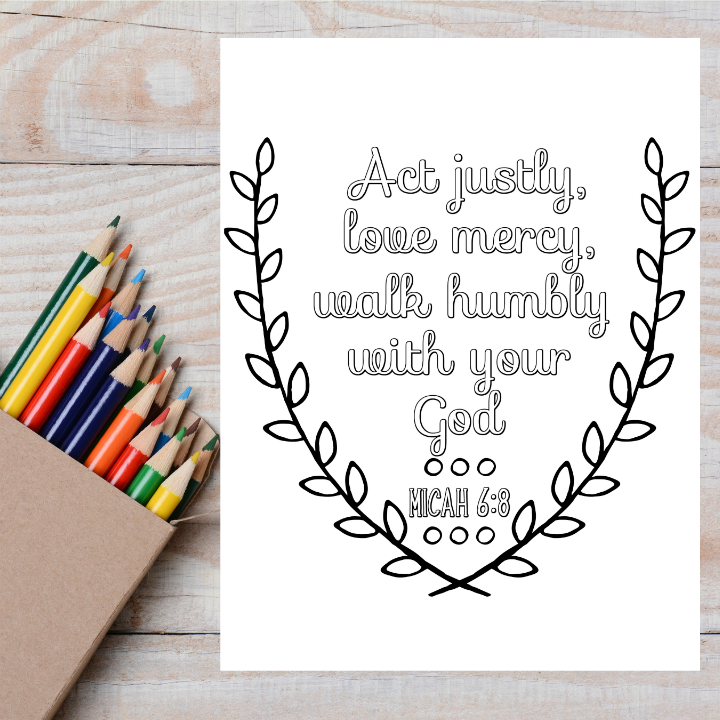 Justice, Mercy, Humility Scripture Coloring Page