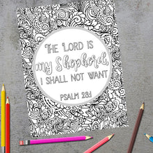 Load image into Gallery viewer, The Lord Is My Shepherd Scripture Coloring Page