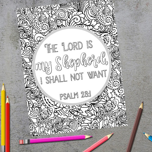 The Lord Is My Shepherd Scripture Coloring Page