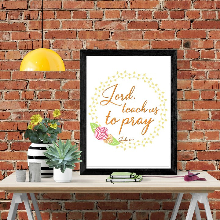 Teach Us To Pray Scripture Wall Art